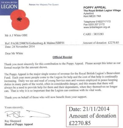 British Legion letter of thanks 2014