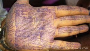 exam notes on hand