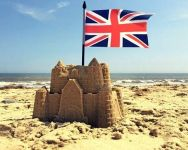 union jack on sandcastle